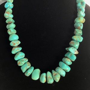 Genuine Turquoise Stone & Bench Bead Necklace